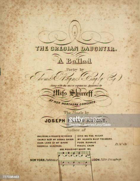 Sheet music cover image of the song 'the Grecian Daughter A Ballad' with original authorship notes reading 'Poetry by Thomas Haynes Bayly Esq The...