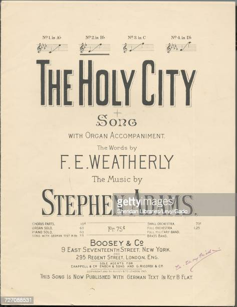 Sheet music cover image of the song 'the Holy City Song With Organ Accompaniment' with original authorship notes reading 'the Words by FE Weatherly...