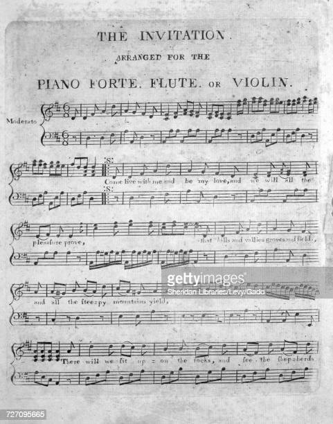 Sheet music cover image of the song 'the Invitation Arranged for the Piano Forte Flute or Violin' with original authorship notes reading 'na' 1900...