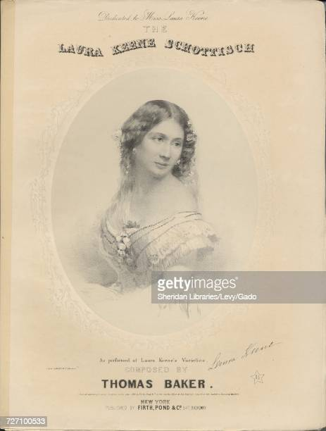 Sheet music cover image of the song 'the Laura Keene Schottisch' with original authorship notes reading 'Composed by Thomas Baker' United States 1856...