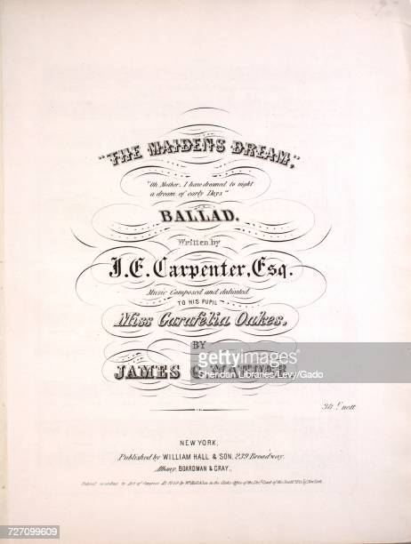 Sheet music cover image of the song 'the Maiden's Dream Ballad' with original authorship notes reading 'Written by JE Carpenter Esq Music Composed By...