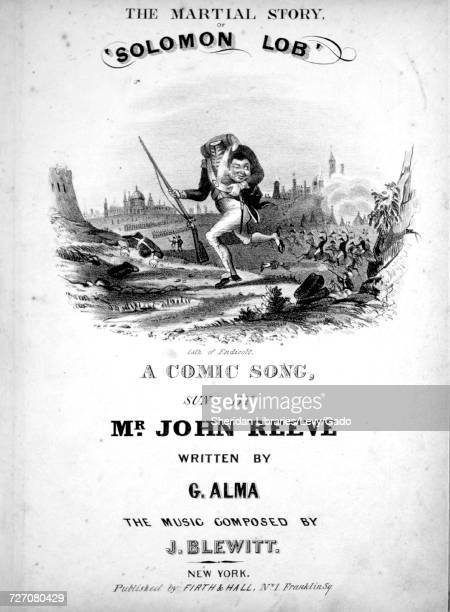 Sheet music cover image of the song 'the Martial Story of 'solomon Lob' A Comic Song' with original authorship notes reading 'Written By G Alma The...