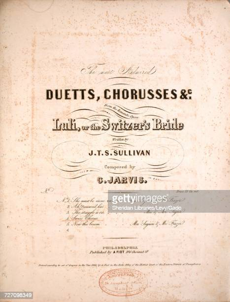 Sheet music cover image of the song 'the Most Admired Duetts Chorusses Etc From the Romantic Opera Luli or The Switzer's Bride No 4 Swiss Chorus'...
