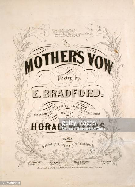Sheet music cover image of the song 'the Mother's Vow' with original authorship notes reading 'Poetry by E Bradford Music Composed by Horace Waters'...