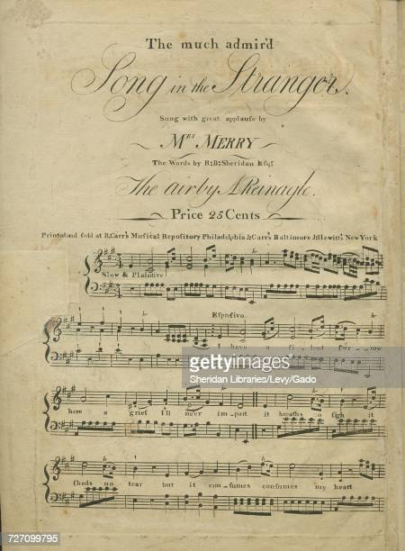 Sheet music cover image of the song 'the much admir'd Song in The Stranger' with original authorship notes reading 'the Words by RB Sheridan Esqr The...
