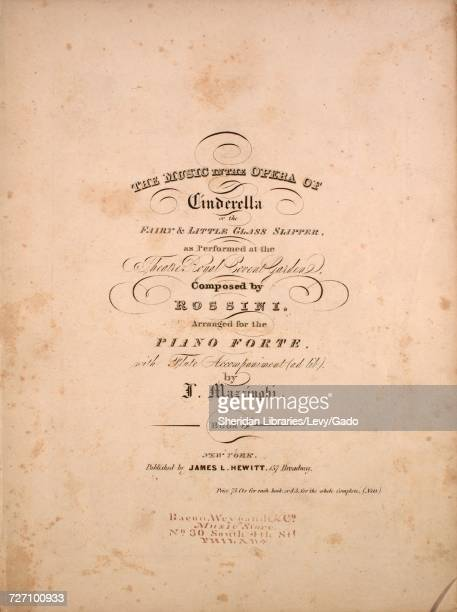 Sheet music cover image of the song 'the Music in the Opera of Cinderella or the Fairy and Little Glass Slipper' with original authorship notes...