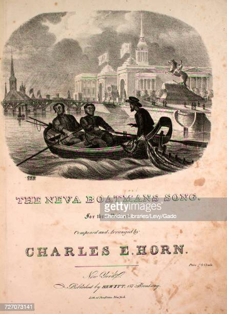 Sheet music cover image of the song 'the Neva Boatman's Song For Three Voices' with original authorship notes reading 'Composed and Arranged by...