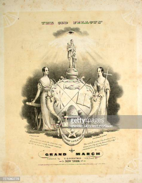 Sheet music cover image of the song 'the Odd Fellows' Grand March' with original authorship notes reading 'by Chas C Christman Member of the Getty's...