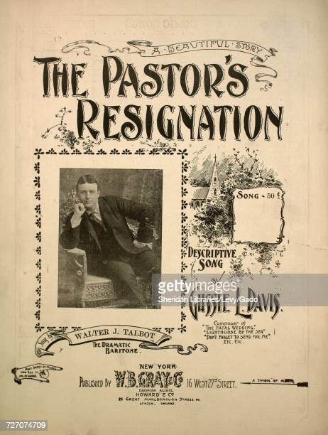 Sheet music cover image of the song 'the Pastor's Resignation A Beautiful Story Descriptive Song' with original authorship notes reading 'by Gussie L...