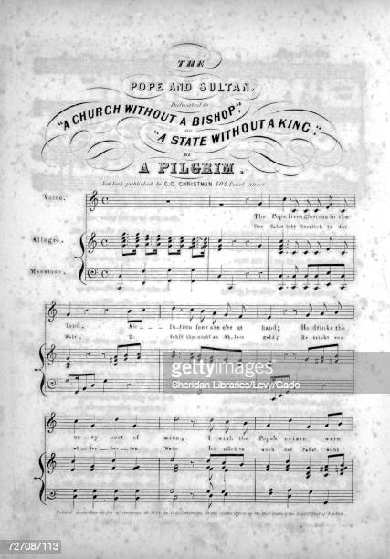 Sheet music cover image of the song 'the Pope and Sultan' with original authorship notes reading 'By A Pilgrim ' United States 1844 The publisher is...