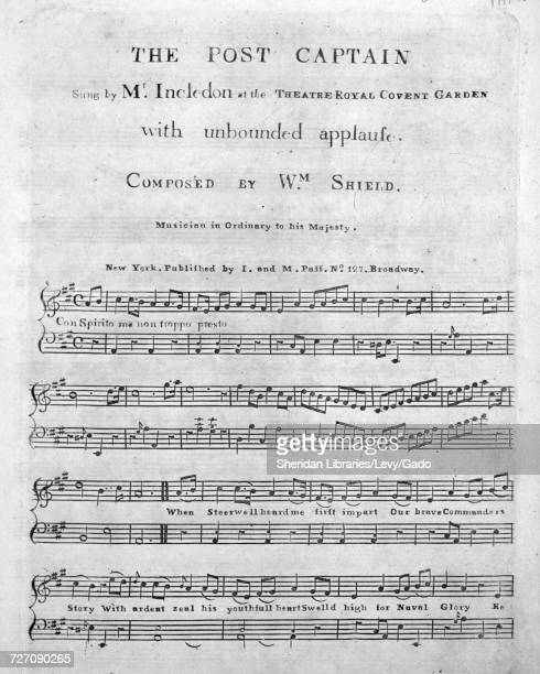 Sheet music cover image of the song 'the Post Captain' with original authorship notes reading 'Composed by Wm Shield Musician in Ordinary to his...