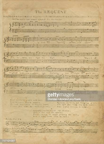 Sheet music cover image of the song 'the Request' with original authorship notes reading '' United States 1900 The publisher is listed as 'B Carr's...