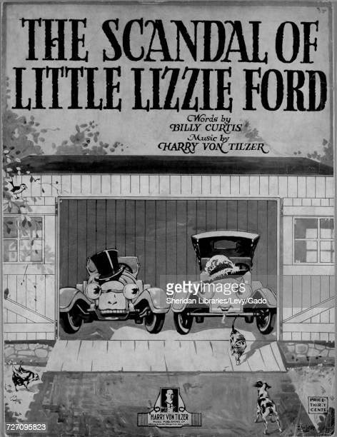 Sheet music cover image of the song 'the Scandal of Little Lizzie Ford' with original authorship notes reading 'Words by Billy Curtis Music by Harry...