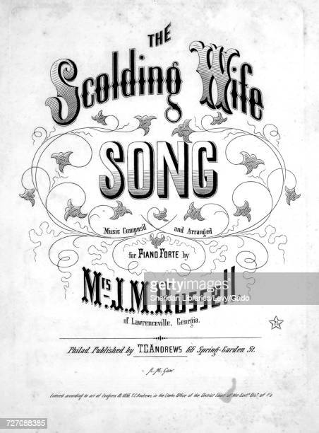 Sheet music cover image of the song 'the Scolding Wife Song or The Jovial Blade' with original authorship notes reading 'music Compos'd and Arranged...
