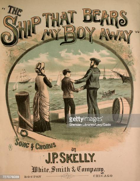 Sheet music cover image of the song 'the Ship That Bears My Boy Away Song and Chorus' with original authorship notes reading 'Words by George Cooper...