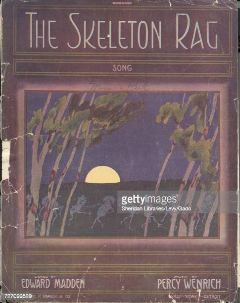Sheet music cover image of the song 'the Skeleton Rag Song' with original authorship notes reading 'Words by Edward Madden Music by Percy Wenrich'...