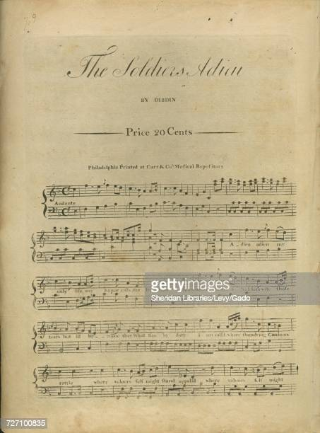 Sheet music cover image of the song 'the Soldiers Adieu' with original authorship notes reading 'By Dibdin' United States 1900 The publisher is...