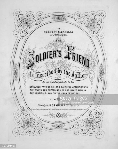 Sheet music cover image of the song 'the Soldier's Friend' with original authorship notes reading 'Words by D Brainerd Williamson Music by John S...