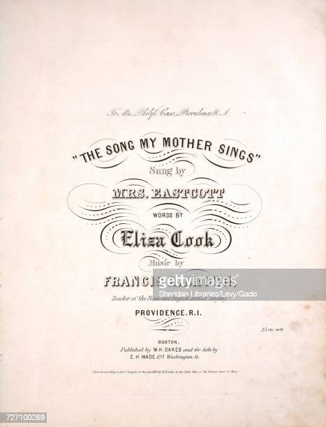 Sheet music cover image of the song 'the Song My Mother Sings' with original authorship notes reading 'Words by Eliza Cook Music by Francis H Brown...