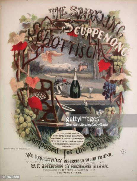 Sheet music cover image of the song 'the Sparkling Scuppenong Schottisch' with original authorship notes reading 'Composed for the Piano by Richard...