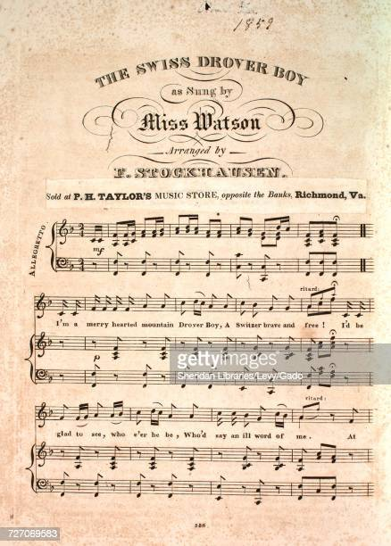 Sheet music cover image of the song 'the Swiss Drover Boy' with original authorship notes reading 'Arranged by F Stockhausen' 1900 The publisher is...
