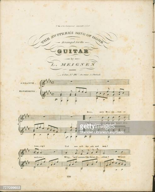 Sheet music cover image of the song 'the Switzer's Song of Home No 65 of the Euterpeiad ' with original authorship notes reading 'Arranged for Guitar...