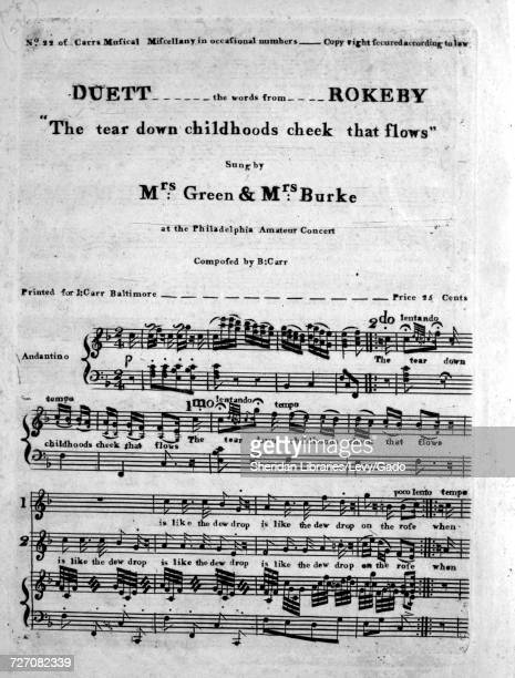 Sheet music cover image of the song 'the Tear Down Childhoods Ccheek That Flows Duett' with original authorship notes reading 'the Words from Rokeby...