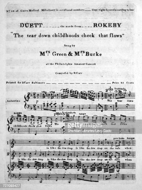 Sheet music cover image of the song 'the tear down childhoods cheek that flows Duett the words from Rokeby' with original authorship notes reading...