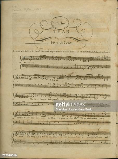 Sheet music cover image of the song 'the Tear' with original authorship notes reading 'na' United States 1900 The publisher is listed as 'Carr and...