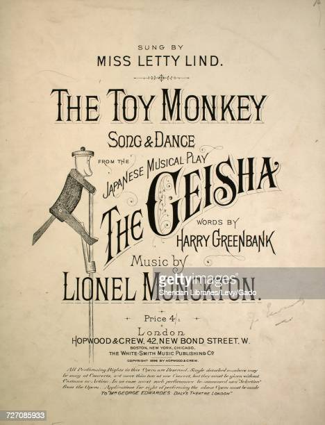 Sheet music cover image of the song 'the Toy Monkey Song and Dance' with original authorship notes reading 'Words by Harry Greenbank Music by Lionel...