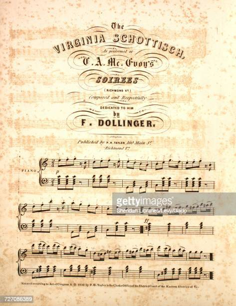 Sheet music cover image of the song 'the Virginia Schottisch' with original authorship notes reading 'Composed by F Dollinger' 1850 The publisher is...