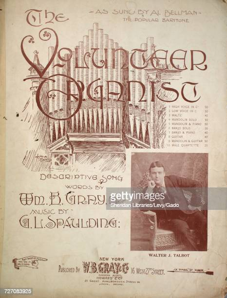 Sheet music cover image of the song 'the Volunteer Organist Descriptive Song' with original authorship notes reading 'Words by Wm B Gray Music by GLS...