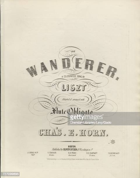 Sheet music cover image of the song 'the Wanderer A Celebrated Song by Liszt' with original authorship notes reading 'Adapted and Arranged with Flute...