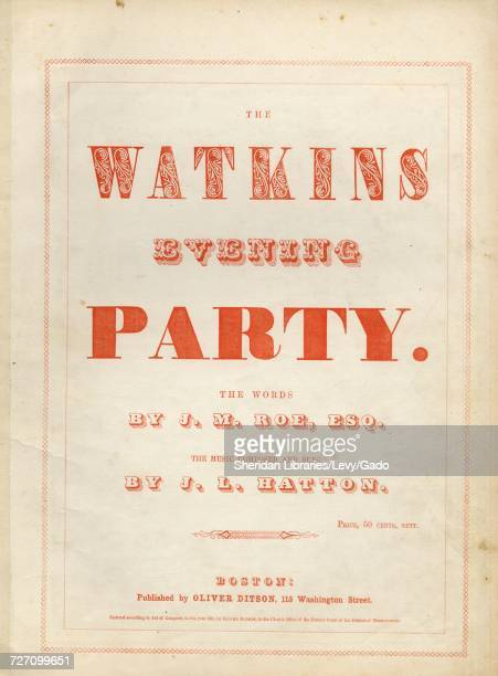 Sheet music cover image of the song 'the Watkins Evening Party' with original authorship notes reading 'the Words By JM Roe Esq The Music Composed By...