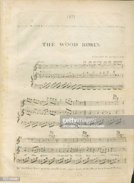 Sheet music cover image of the song 'the Wood Robin Series Title No 11 of a Musical Journal for the Piano Forte Vocal Section' with original...