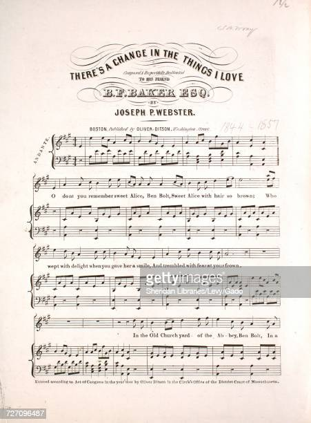 Sheet music cover image of the song 'there's a Change in the Things I Love' with original authorship notes reading 'Composed by Joseph P Webster'...
