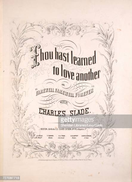 Sheet music cover image of the song 'thou Hast Learned to Love Another or Farewell Farewell Forever' with original authorship notes reading 'music by...