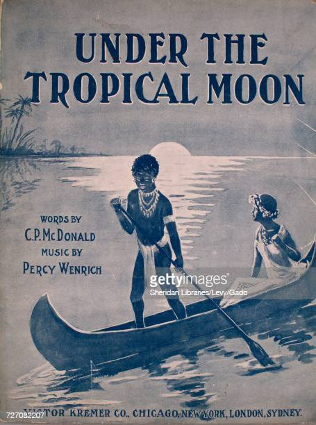 Sheet music cover image of the song 'Under the Tropical Moon' with original authorship notes reading 'Words by CP Macdonald Music by Percy Wenrich'...