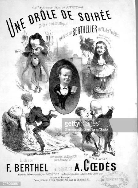 Sheet music cover image of the song 'Une Drole de Soiree Scene humoristique ' with original authorship notes reading 'Paroles de F Berthel Musique de...