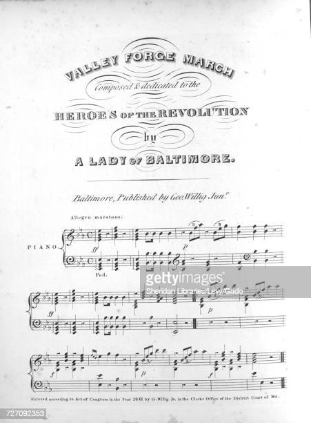 Sheet music cover image of the song 'Valley Forge March' with original authorship notes reading 'Composed by A Lady of Baltimore' United States 1841...