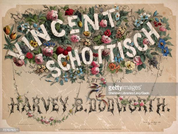 Sheet music cover image of the song 'Vincent Schottisch' with original authorship notes reading 'By Harvey B Dodworth' United States 1852 The...