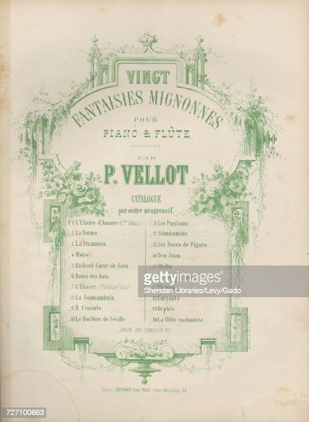 Sheet music cover image of the song 'Vingt Fantaisies Mignonnes Pour Piano and Flute Moise Fantaisie Concertante pour Piano et Violon' with original...