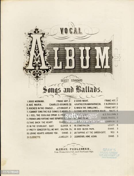 Sheet music cover image of the song 'Vocal Album When the Corn is Waving Annie Dear Song and Chorus' with original authorship notes reading 'Composed...