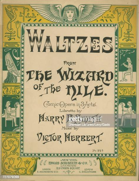 Sheet music cover image of the song 'Waltzes From The Wizard of the Nile Comic Opera in 3 Acts' with original authorship notes reading 'Libretto by...
