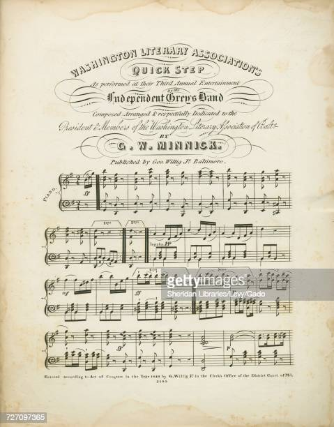 Sheet music cover image of the song 'Washington Literary Association's Quick Step' with original authorship notes reading 'Composed and Arranged By...