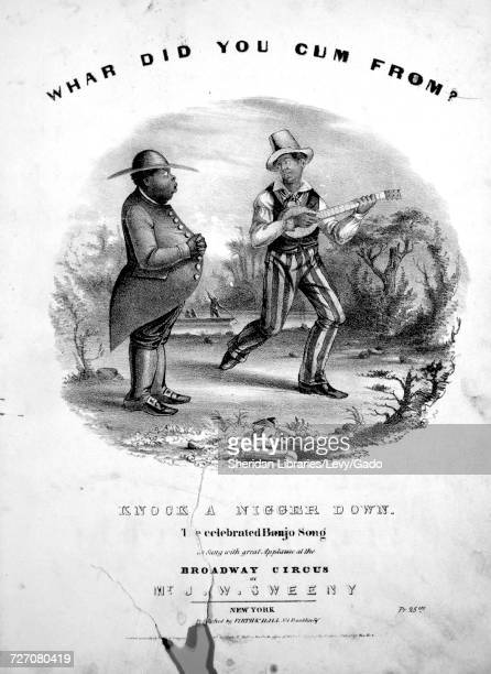 Sheet music cover image of the song 'Whar Did You Cum From Knock a Nigger Down The Celebrated Banjo Song' with original authorship notes reading 'na'...