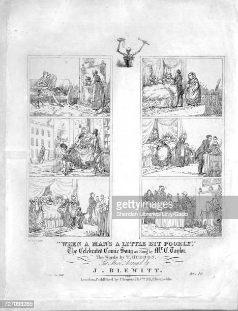 Sheet music cover image of the song 'When A Man's A Little Bit Poorly The Celebrated Comic Song' with original authorship notes reading 'the Music...