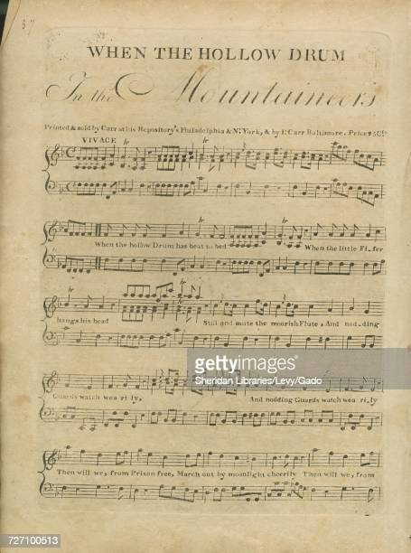 Sheet music cover image of the song 'When the Hollow Drum' with original authorship notes reading 'na' United States 1797 The publisher is listed as...