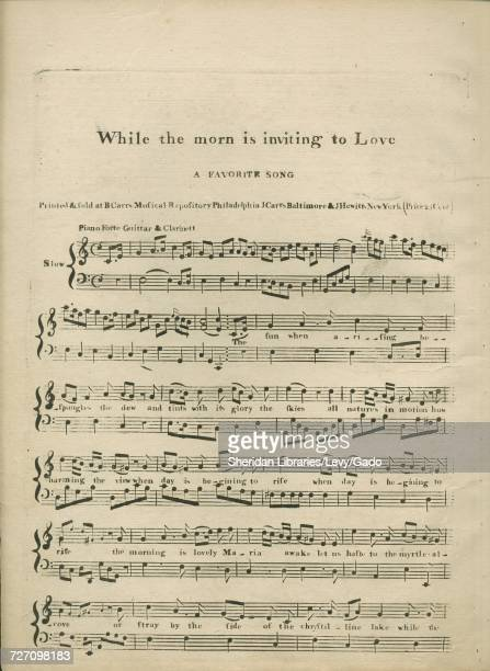 Sheet music cover image of the song 'While the morn is inviting to Love A Favorite Song' with original authorship notes reading 'na' United States...