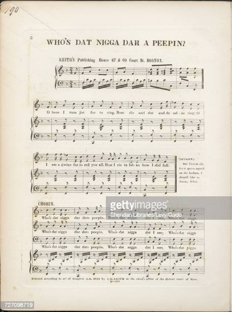 Sheet music cover image of the song 'Who's Dat Nigga Dar A Peepin' with original authorship notes reading 'na' United States 1844 The publisher is...